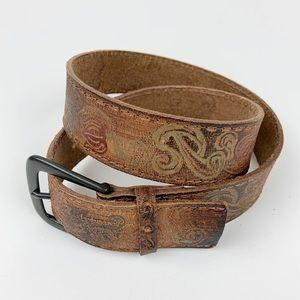 Leather Distressed Brown Belt Floral Print Boho